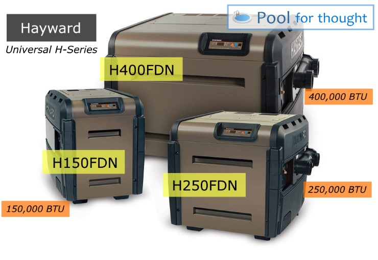 Hayward Universal H-Series Models Sizes Low NOx gas pool heater options